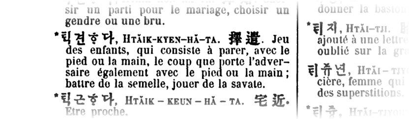 Taekkyon in einem alten französischen Wörterbuch