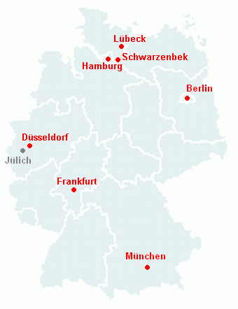 Map with Taekkyon training locations in Germany [verweissensitiv]